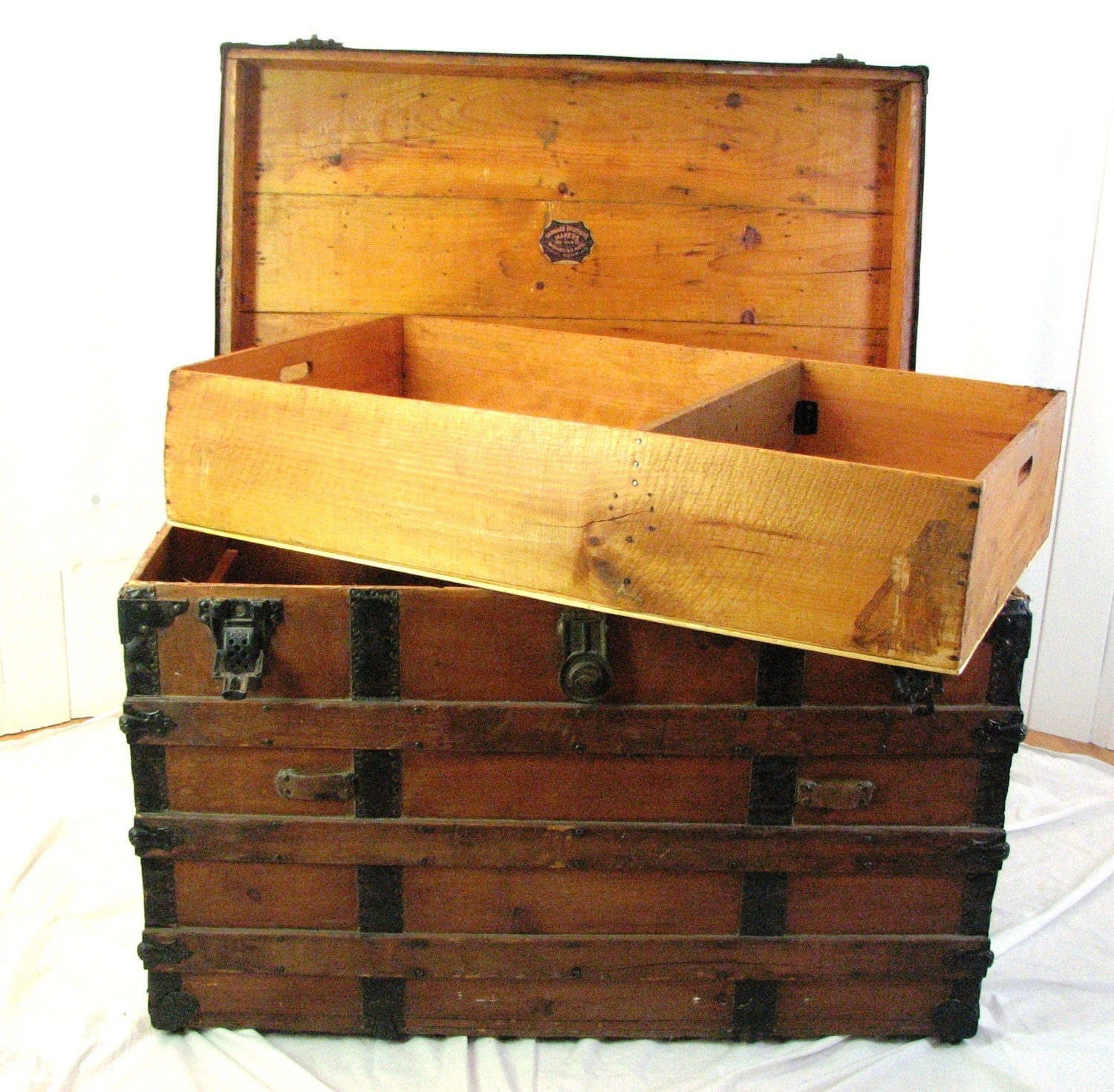 Antique wooden trunk barnard brothers