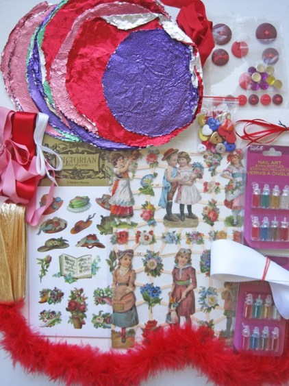 Valentine supplies, Vintage foil, Card making, Heart shaped buttons, Valentine cards, Valentine crafts, Victorian stickers, German cut outs