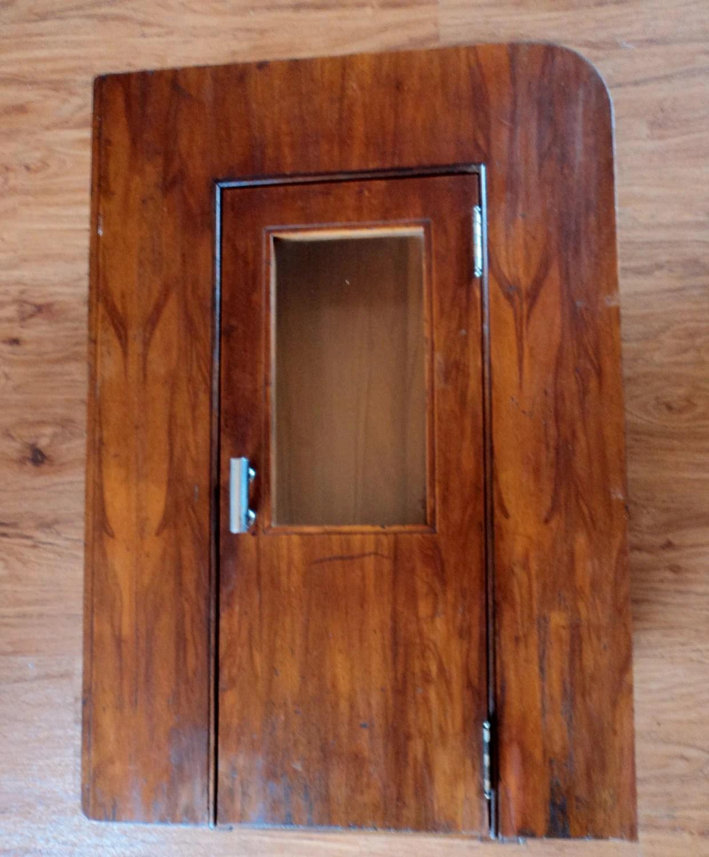 Unique Vintage Art Deco Wood Bathroom Medicine Cabinet Recessed Wall Cupboard Haute Juice