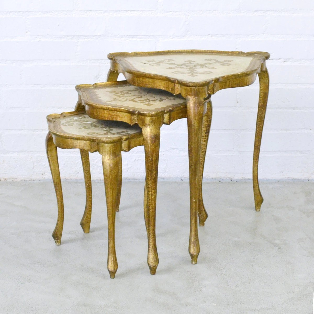 Gold Shabby Chic Coffee Table: Florentine Vintage Style Triangle Nesting Tables Gold
