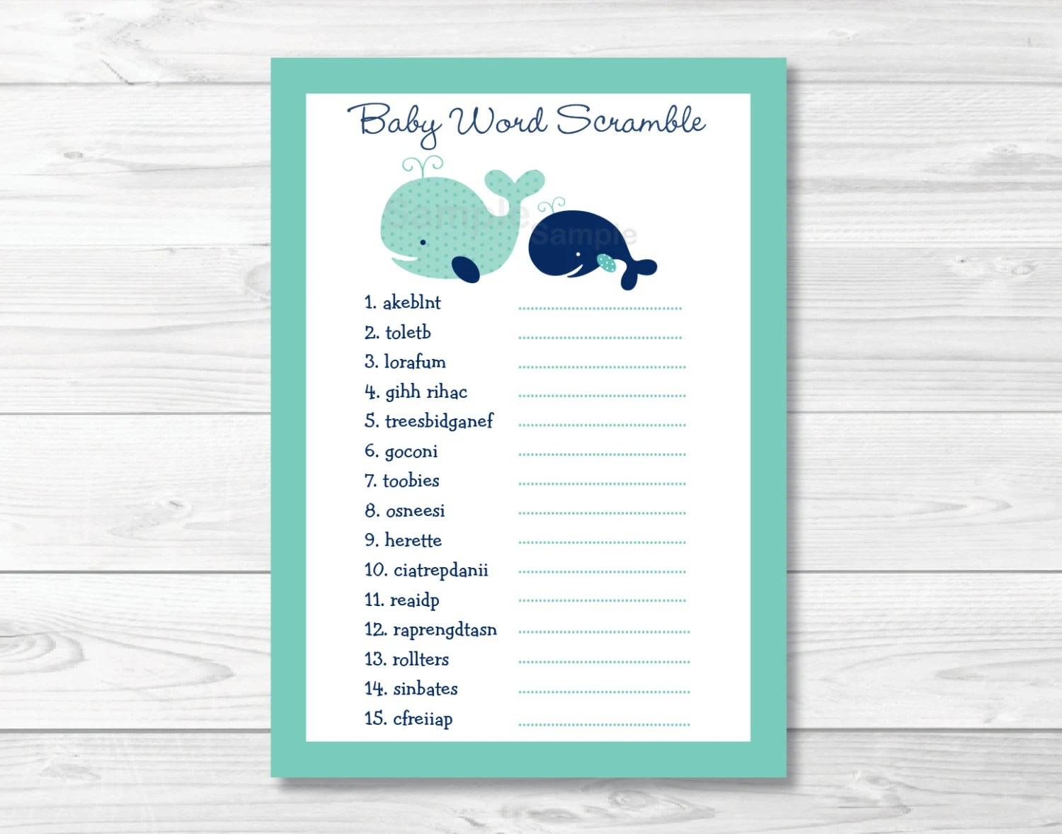Cute Whale Baby Shower Word Scramble Whale Baby Shower