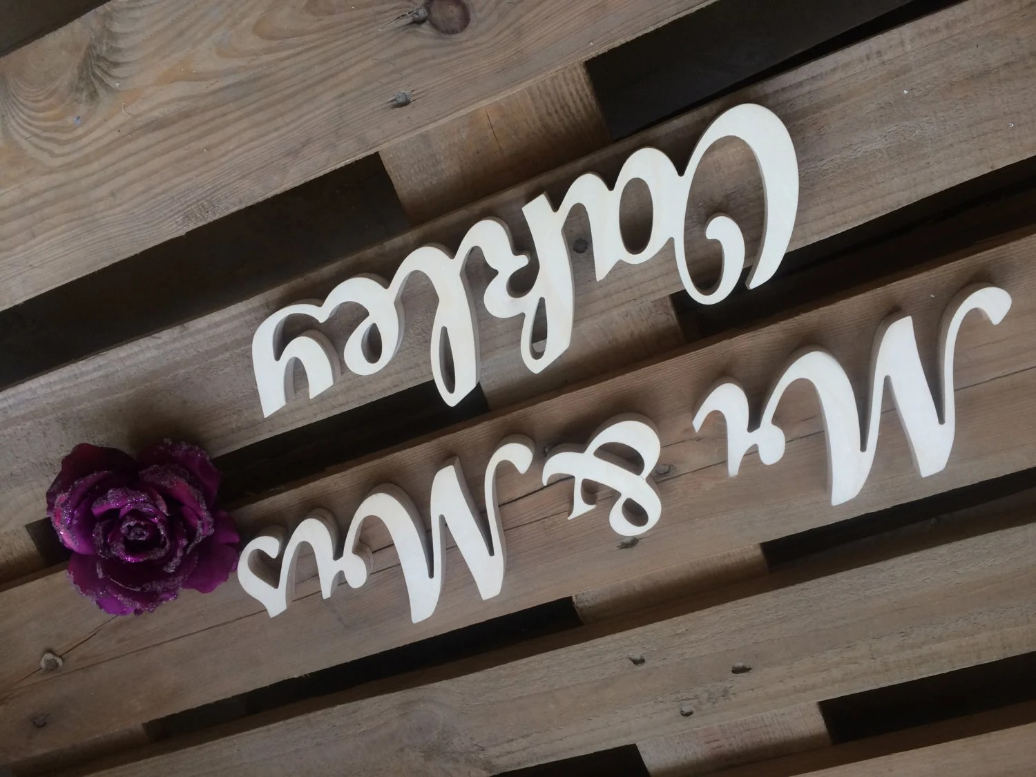 Wedding Signs Mr & Mrs Name Sign Wedding Table Signs. Wooden