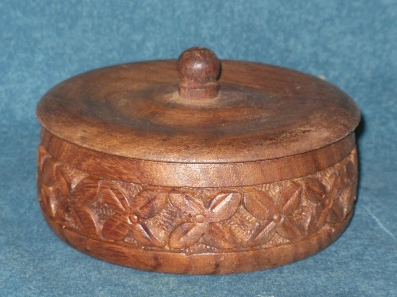Small Round Carved Wood Trinket Box Vintage