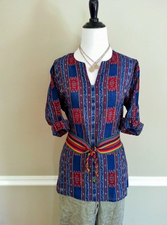 Vintage Indigo Dyed Guatemalan Ikat Print Woven by ...