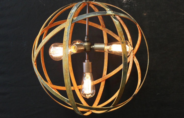 Orb Chandelier Industrial Sphere Metal Strap Globe Hanging