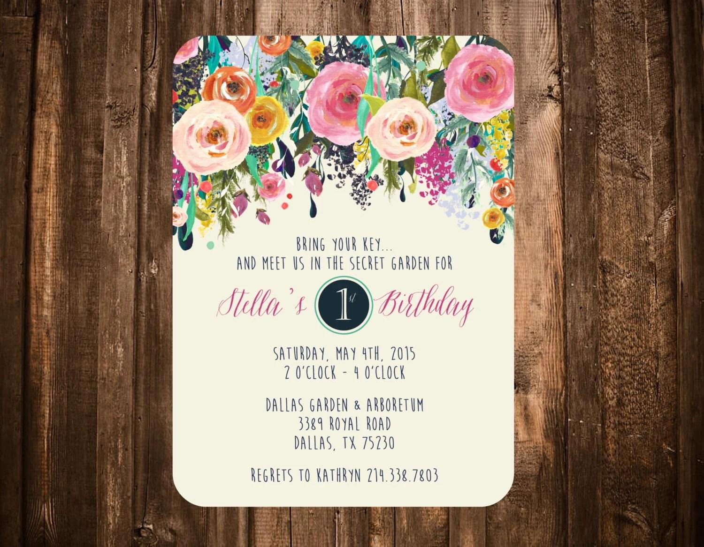 Secret Garden Birthday Invitation Bright Floral Printable Or