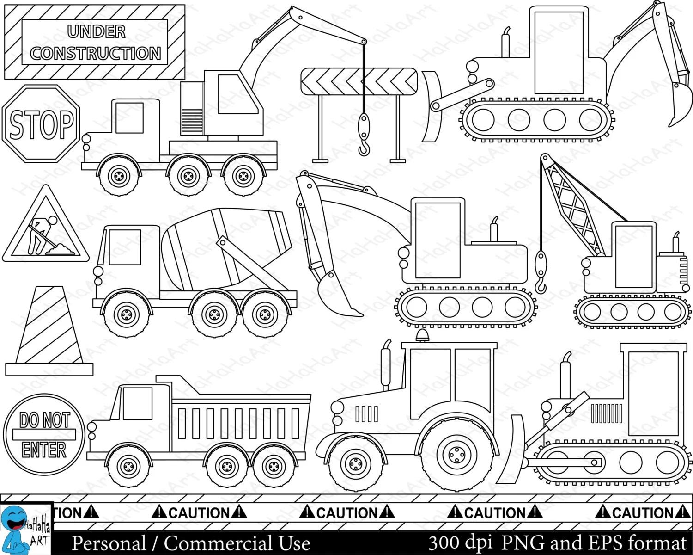 Outline Construction Set Clipart Digital Clip Art