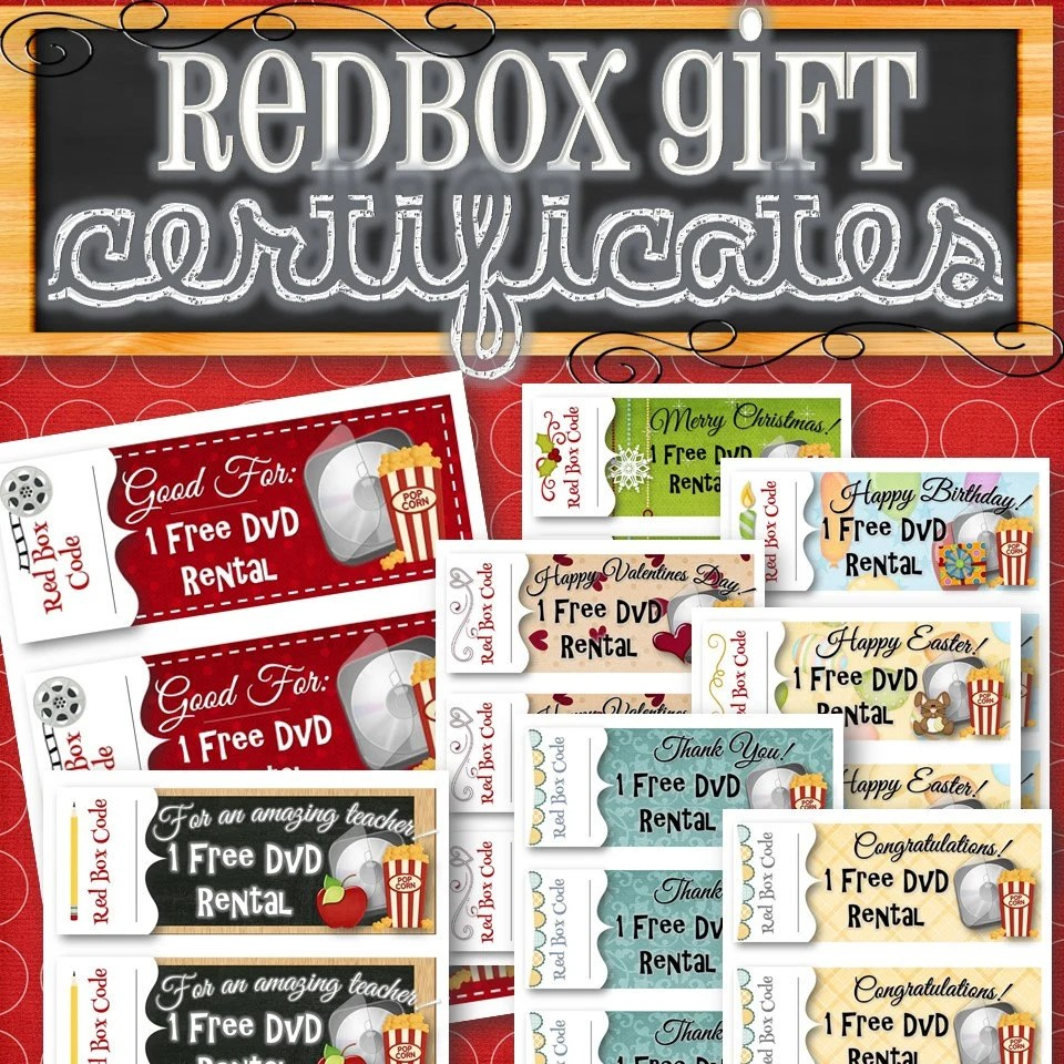 Redbox GiftHoliday Certificates INSTANT DOWNLOAD