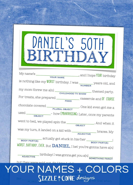 Adult Birthday Mad Libs Teens Too Printable By