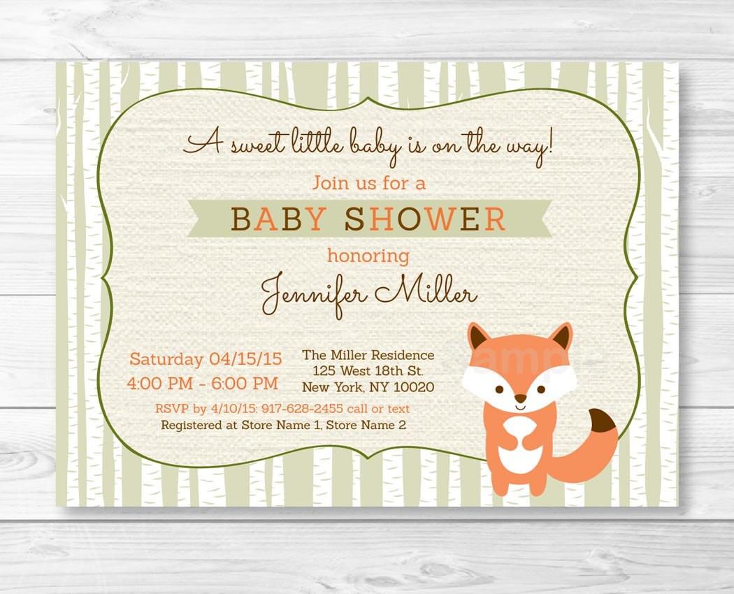Baby Shower Invitations Fox