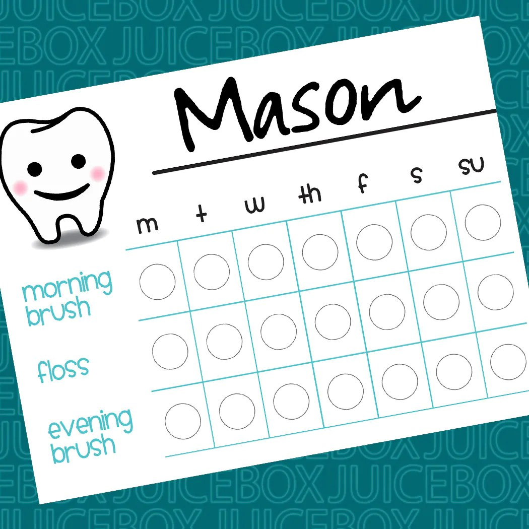 Teeth Brushing Chart Printable Instant Download