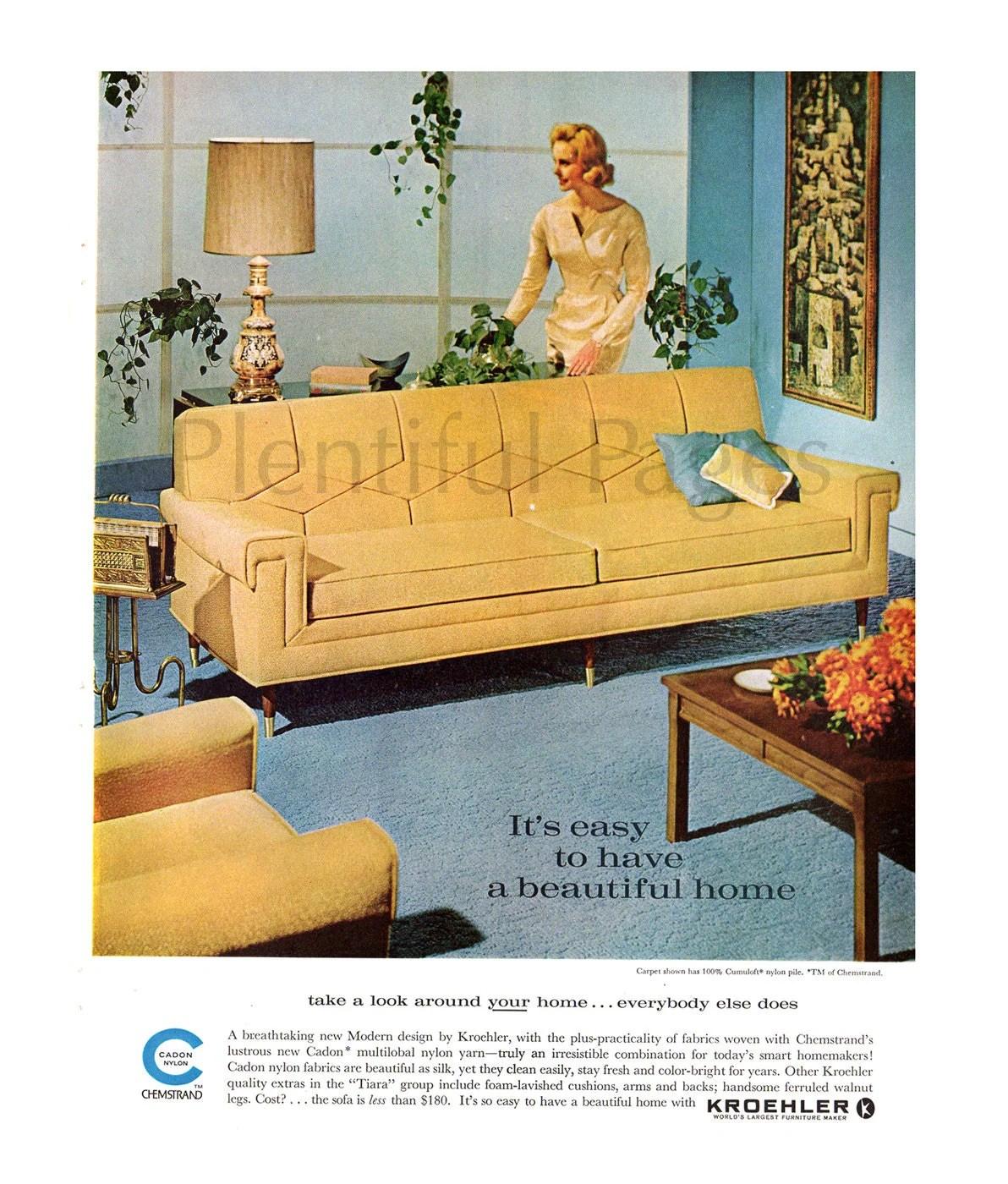 1962 Kroehler Furniture Vintage Ad 1960 S Living Room