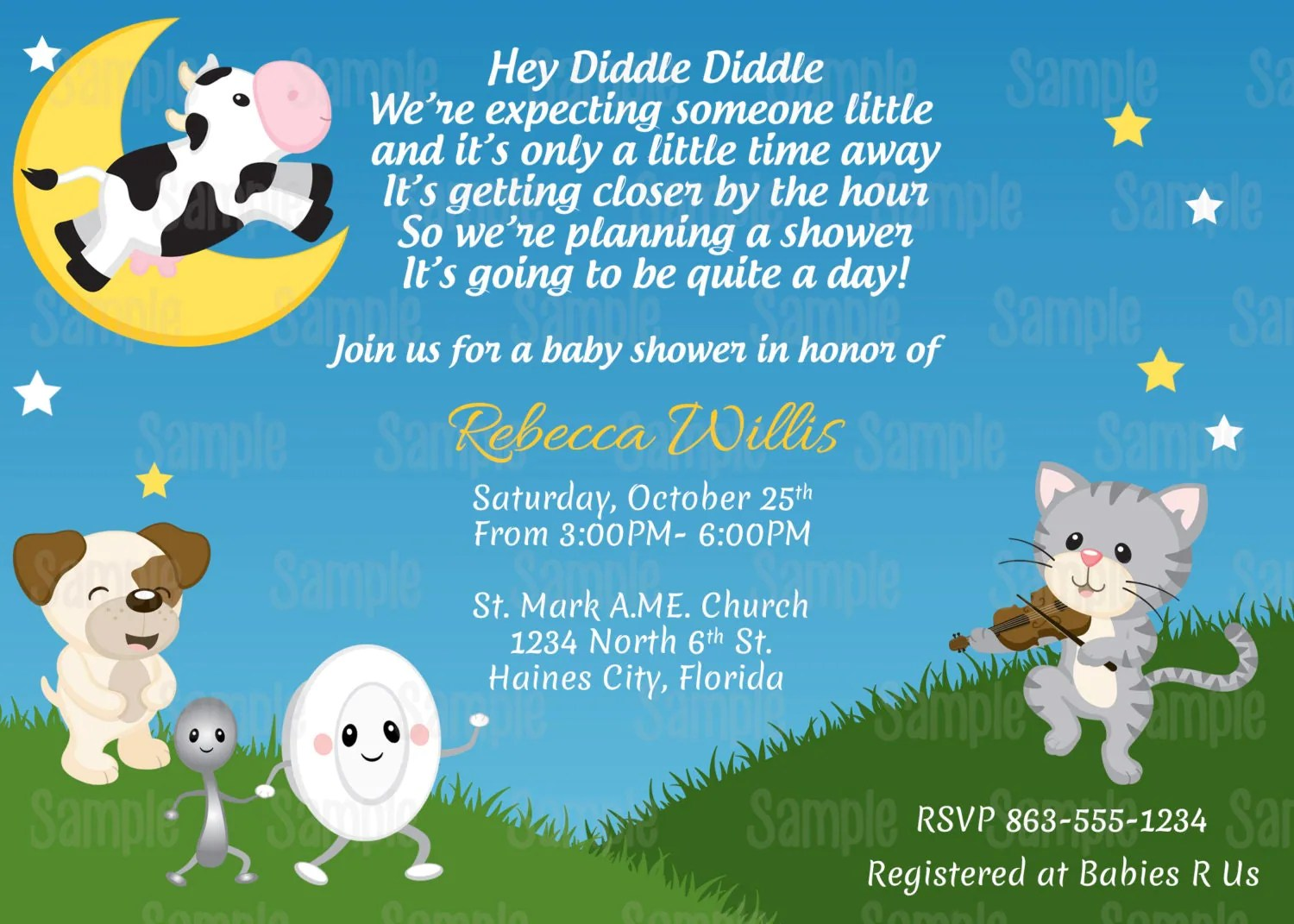 Printable Nursery Rhyme Hey Diddle Diddle Baby Shower