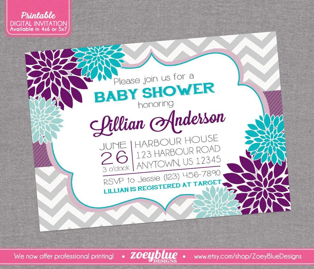 Purple Baby Shower Invitations