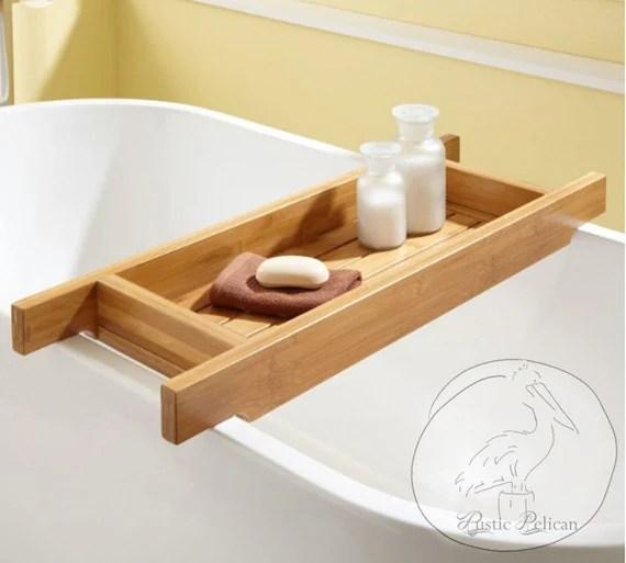 Items Similar To Wood Bath Caddy Wood Bathtub Tray
