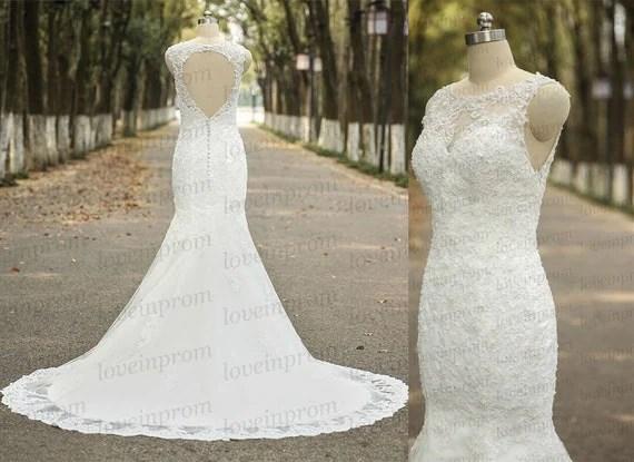 Vintage Mermaid Wedding DressHandmade Tulle Lace Wedding