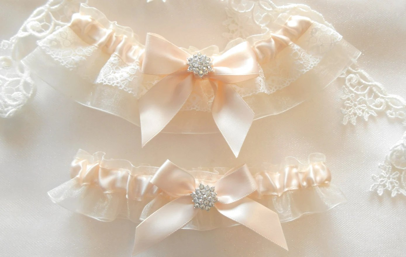 Wedding Garter Set Vintage LACE Trim Satin And By