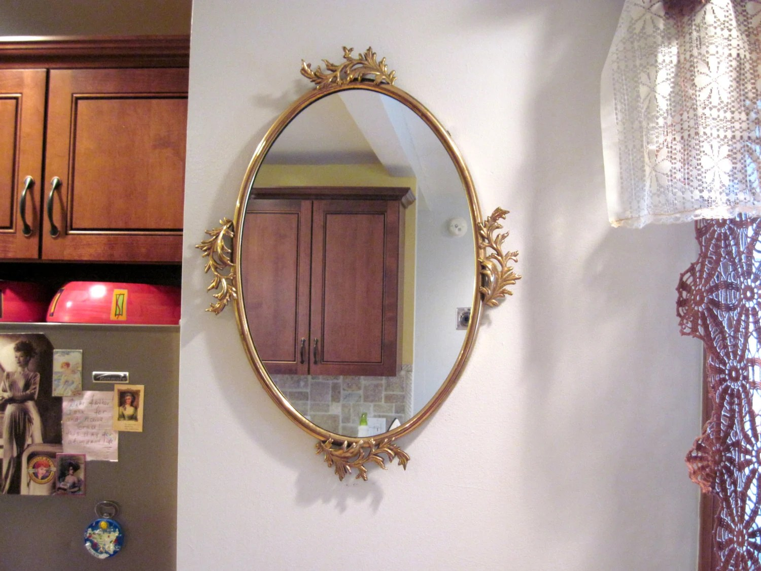 Antique Brass Frame Very Large Size Oval Mirror Vintage Brass