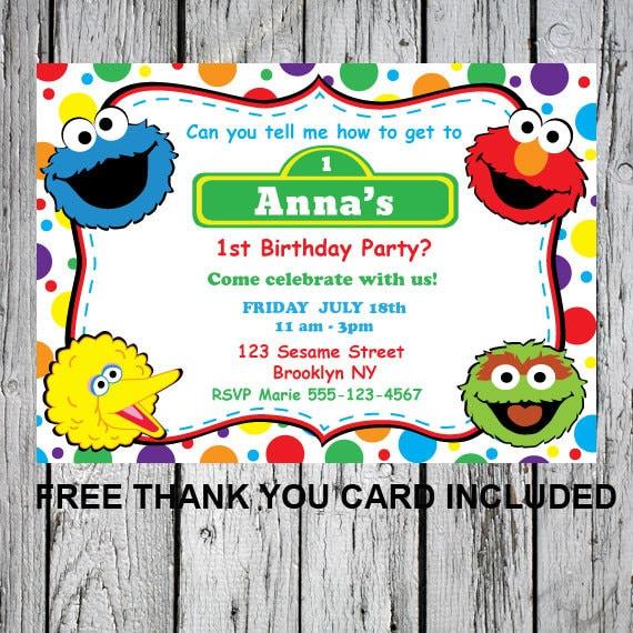 Printable Invitations Sesame Street