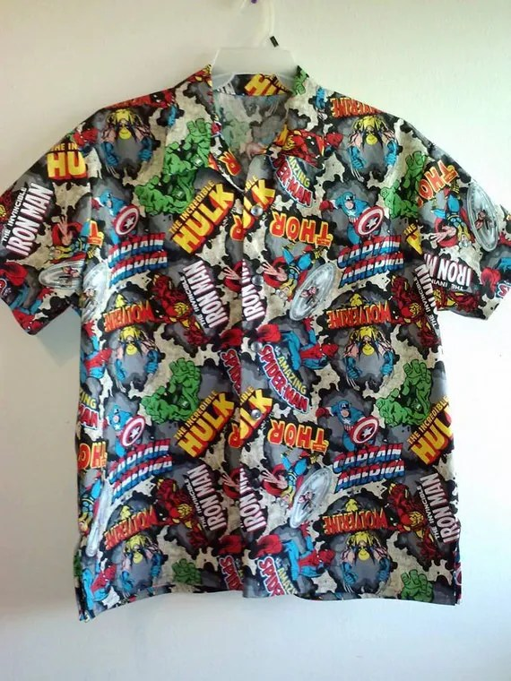 Down Button Marvel Shirts