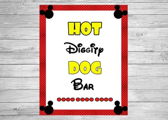 Mickey Mouse Birthday Sign INSTANT DOWNLOAD 8x10 Inches