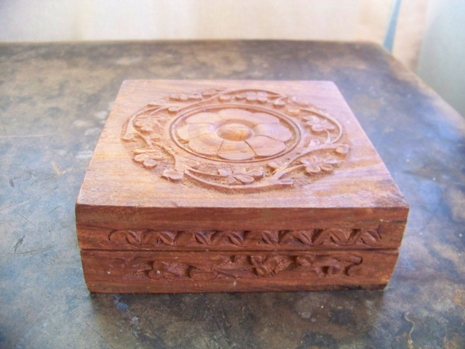 Superb img of Folk Art Hand Carved Wooden Box Vintage – Haute Juice with #8B5940 color and 1500x1125 pixels