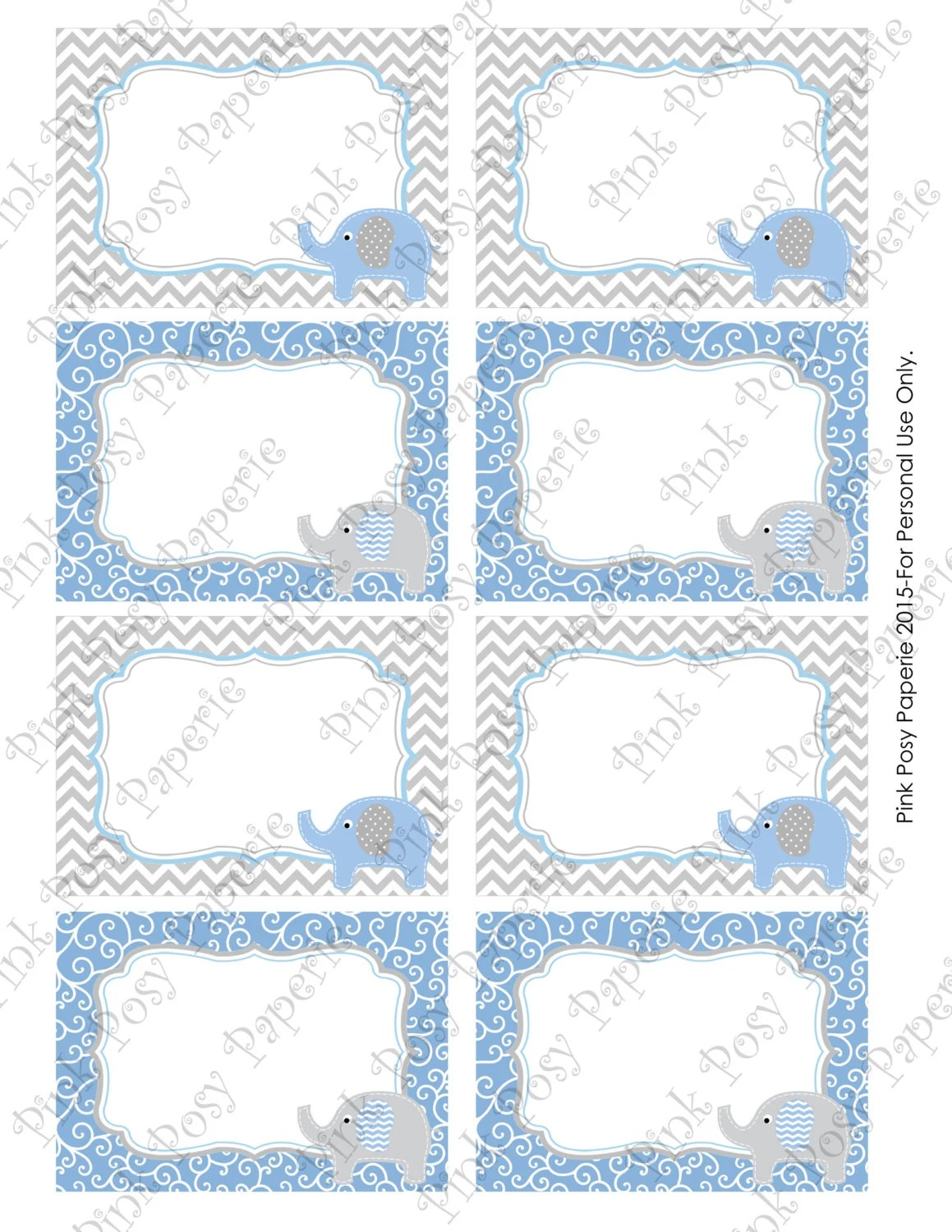 Printable Blue Elephant Baby Shower Food Labels By