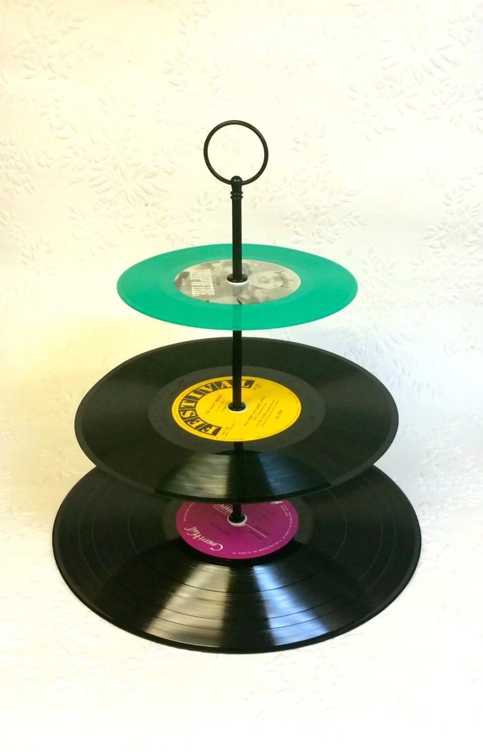 3 Tier Vinyl Record Cupcake Stand Retro Cake Stand By Myeroom