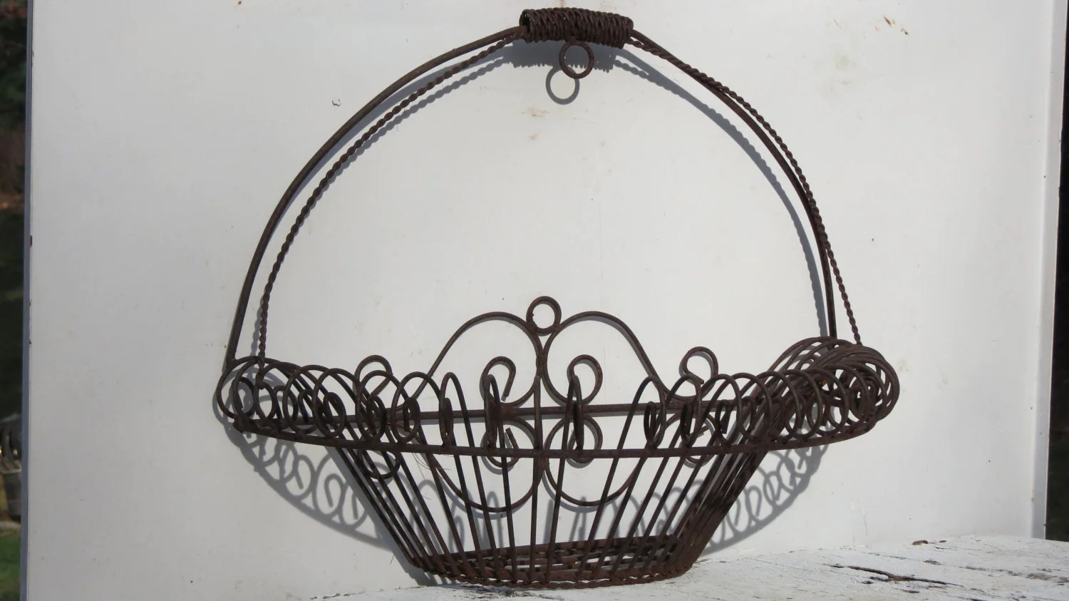 Pair of Antique Rusty Wrought Iron Wall Hanging Planters on Iron Wall Vases id=33934