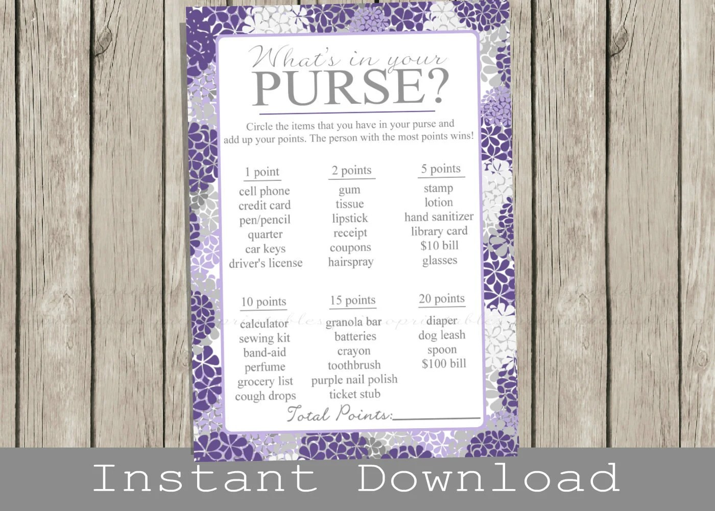 Baby Shower Purse Game Printable Cards Purple Hydrangeas