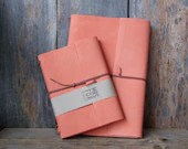 Leather Notebook with custom initials, Coral Pink Leather, Includes standard size notebook - Re-usable - Avaliable in A5 and A6 sizes