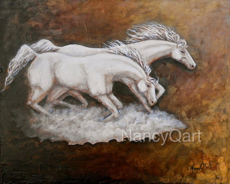 Original Horse Painting 16x20 White Running Horses Wall Art
