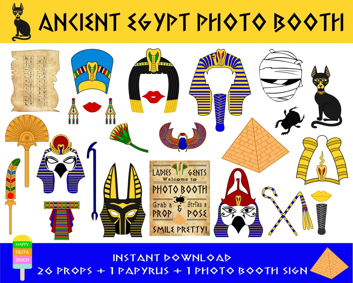 Printable Egypt Photo Booth Props Ancient Egypt Props Egyptian