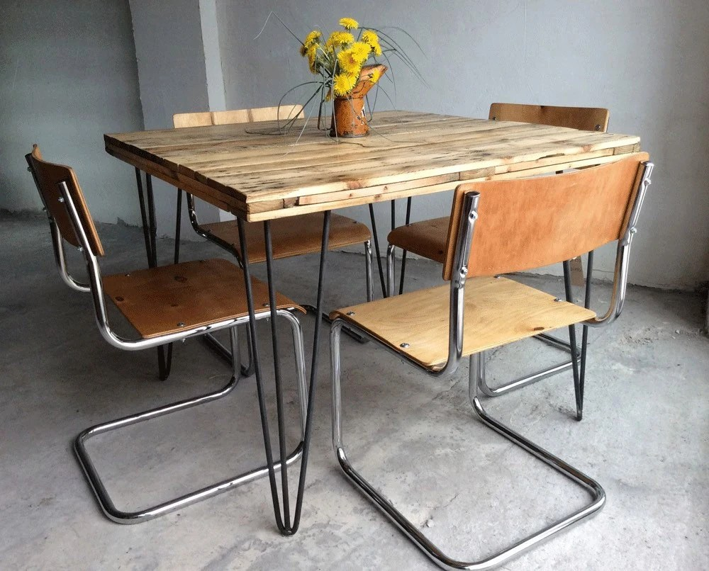 Set Of 4 Restored Vintage Industrial School Style Dining Chairs Haute Juice