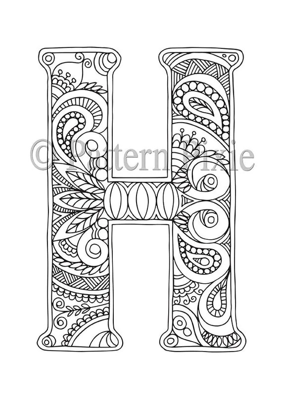 adult colouring page alphabet letter hpatternpixie on etsy