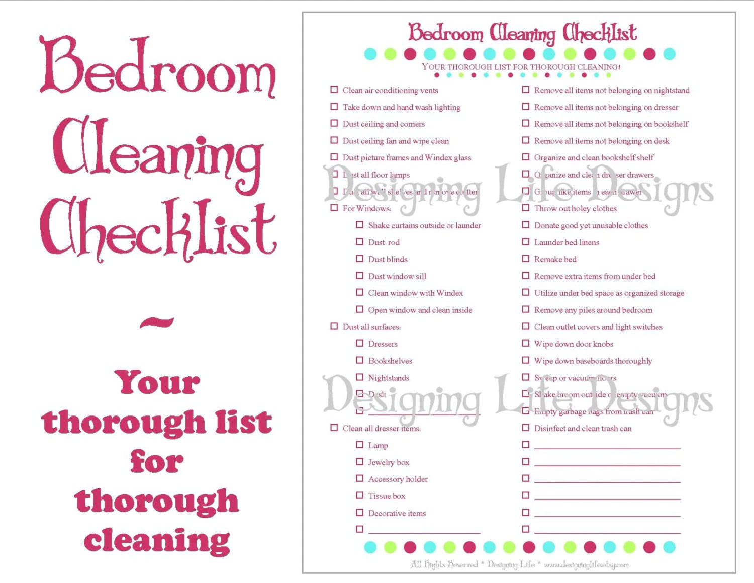 Bedroom Cleaning Checklist Printable Household