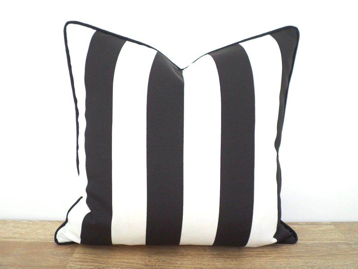 Black Stripe Outdoor Pillow Cover 18x18 Outdoor Chair Cushion