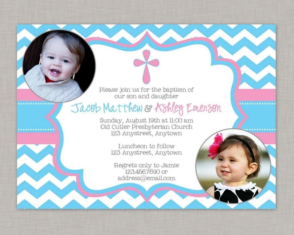 Twin Christening Invitations