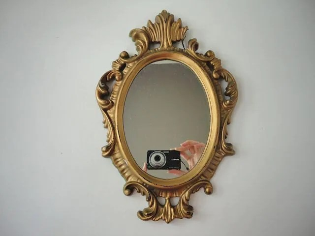 Small Vintage Oval Mirror Gold Frame Made In Hong Kong