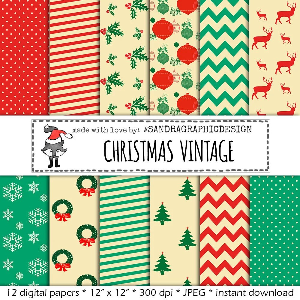 christmas digital paper vintage christmas with vintage christmas patterns and colors for