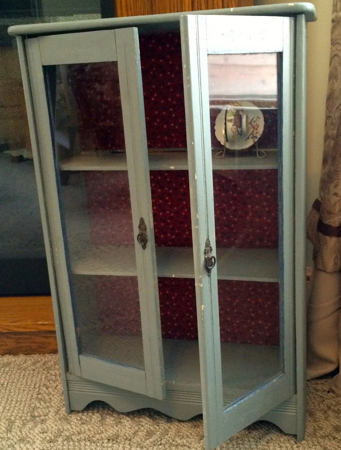 Small gray wooden display cupboard glass front doors red for Wooden back doors with glass
