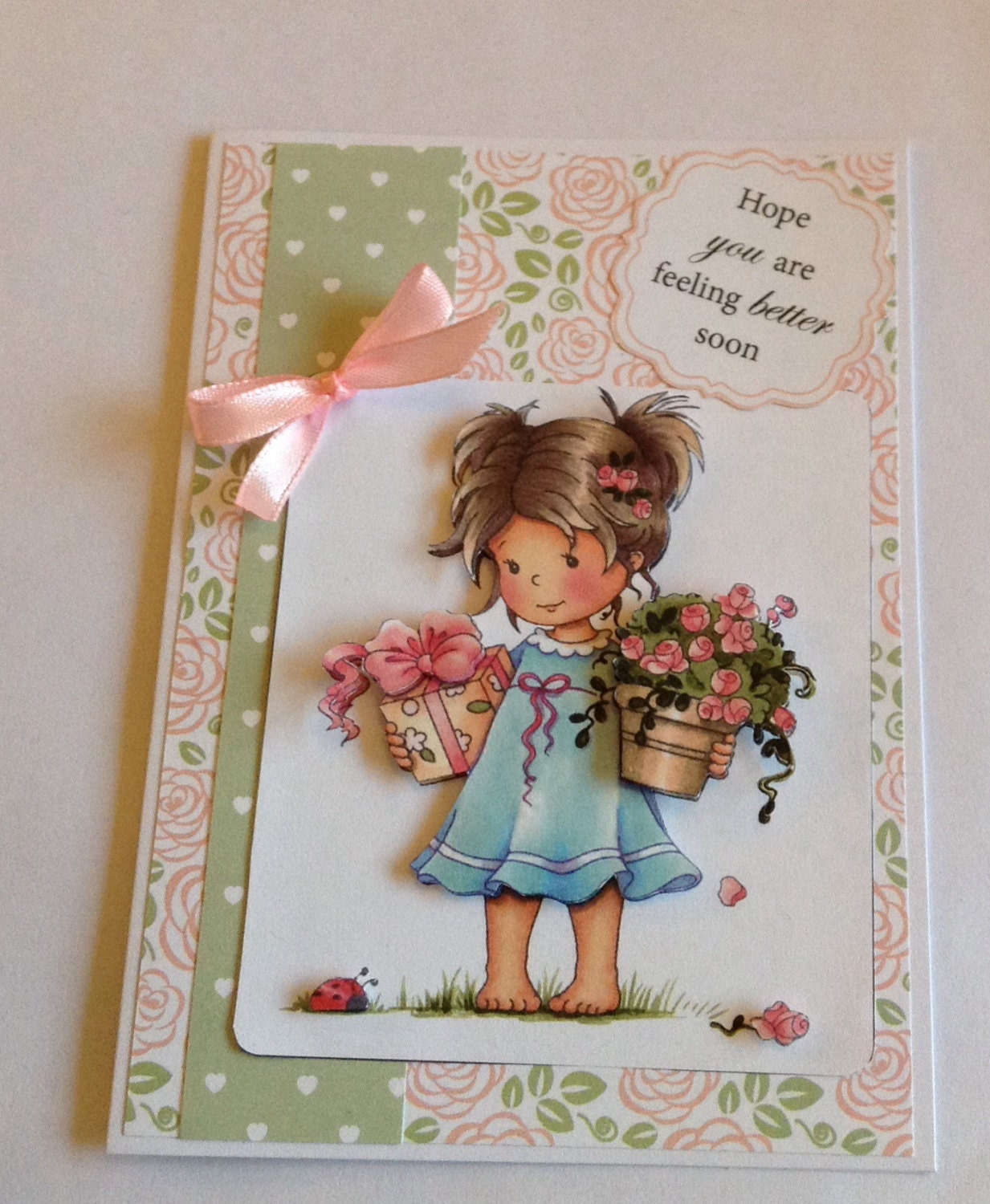 Feel Better Soon Card Girl With Flowers Blank Card Get Well