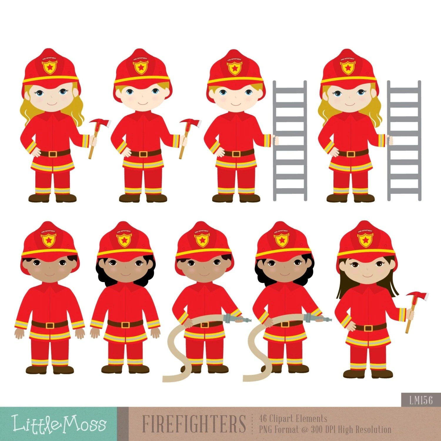 Firefighters Digital Clipart Fireman Clipart From Littlemoss On Etsy Studio