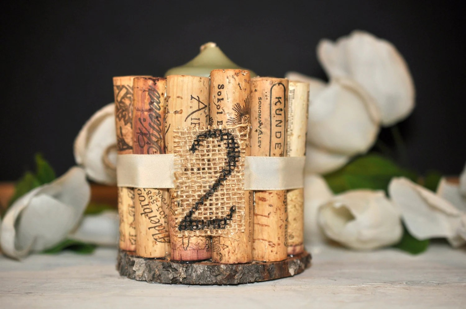 Rustic Wedding Table Numbers Wine Cork Table By