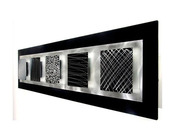 Black & Silver Etched Modern Metal Art Abstract Wall