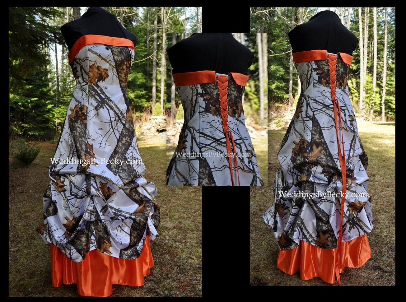 Camo Wedding Gown/dress SATIN Camo- 'Pamela Rae' Made Only