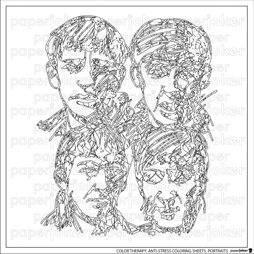 beatles. adult coloring page. antistress colorpaperjoker