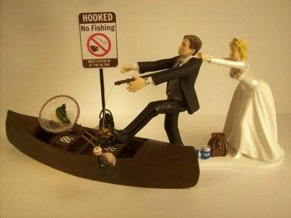 No FISHING Come Back Funny Wedding Cake Topper W Boat Bride