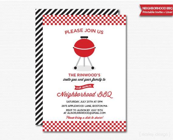 Neighborhood BBQ Invitation Neighborhood Party Block Party