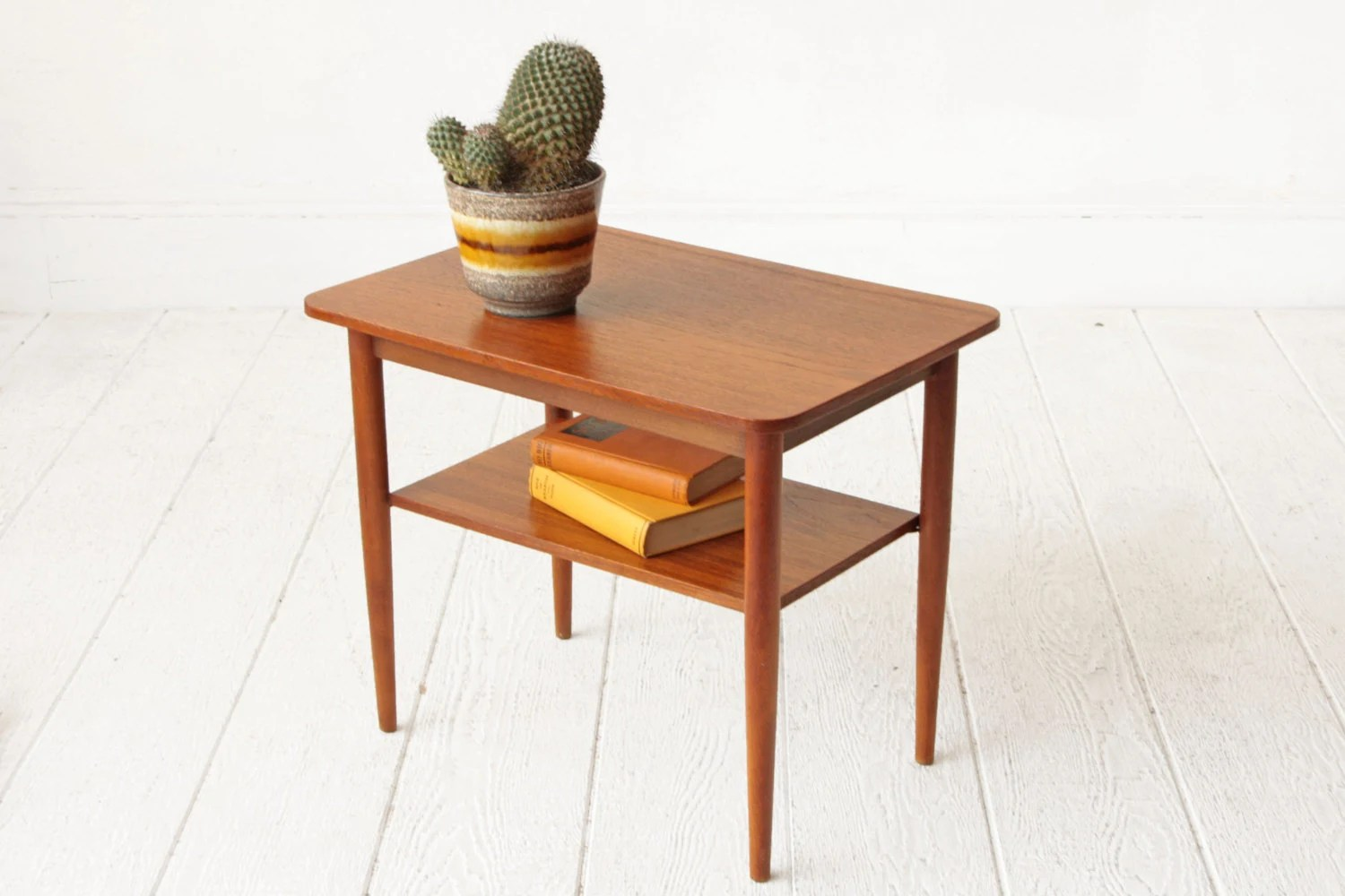 Danish Teak Two Tier Mid Century End Table